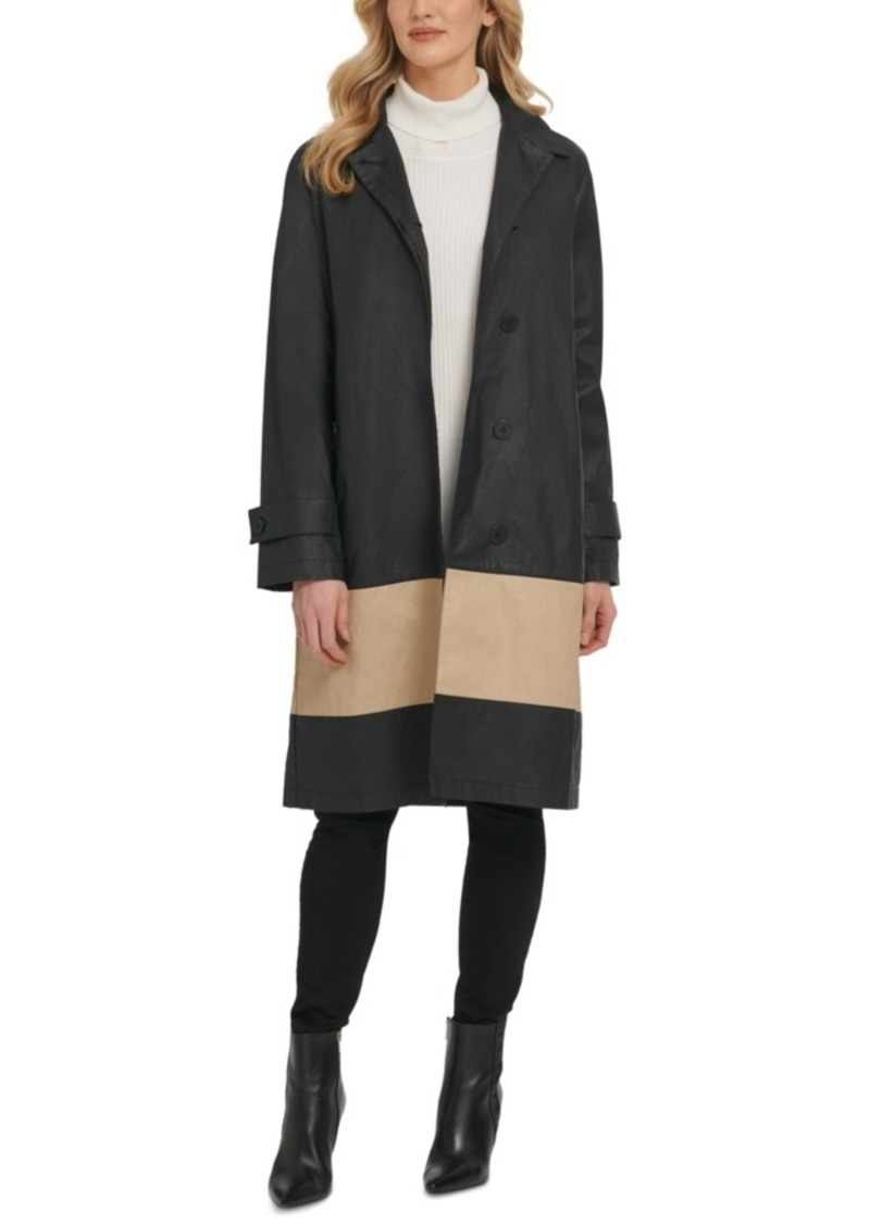 Dkny Colorblocked Cotton Trench Coat