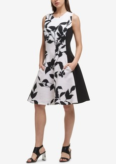 Dkny Colorblocked Floral Fit & Flare Dress, Created for Macy's