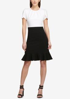 Dkny Colorblocked Flounce Sheath Dress, Created for Macy's