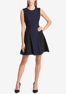 Dkny Colorblocked Jacquard Fit & Flare Dress