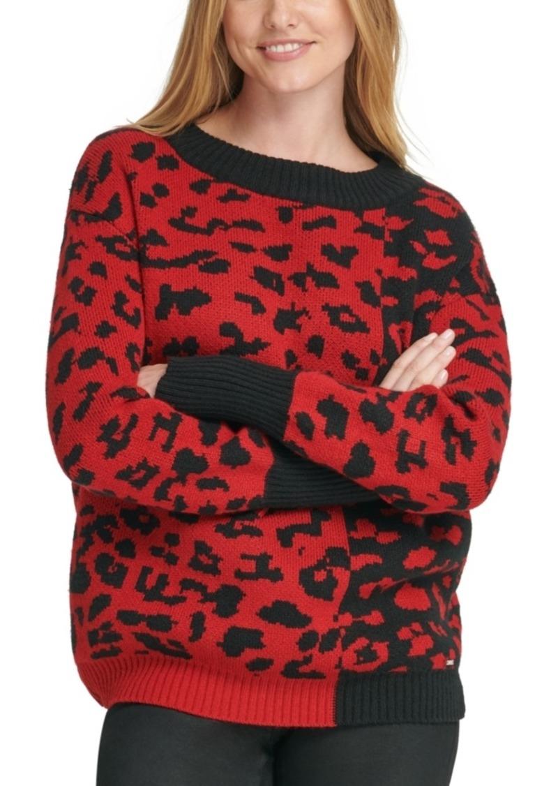 Dkny Colorblocked Leopard-Print Sweater