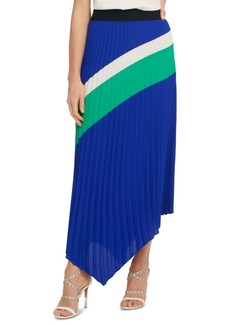 Dkny Colorblocked Pleated Asymmetrical Skirt