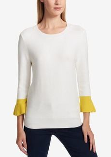 Dkny Colorblocked Ruffle-Sleeve Sweater