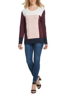 Dkny Colorblocked Vented-Hem Sweater