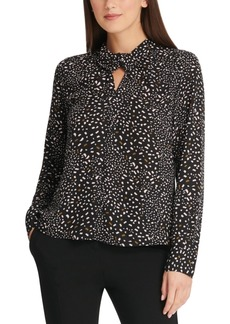 Dkny Confetti-Print Twist-Neck Top