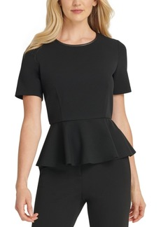 Dkny Contrast Back-Zip Peplum Top