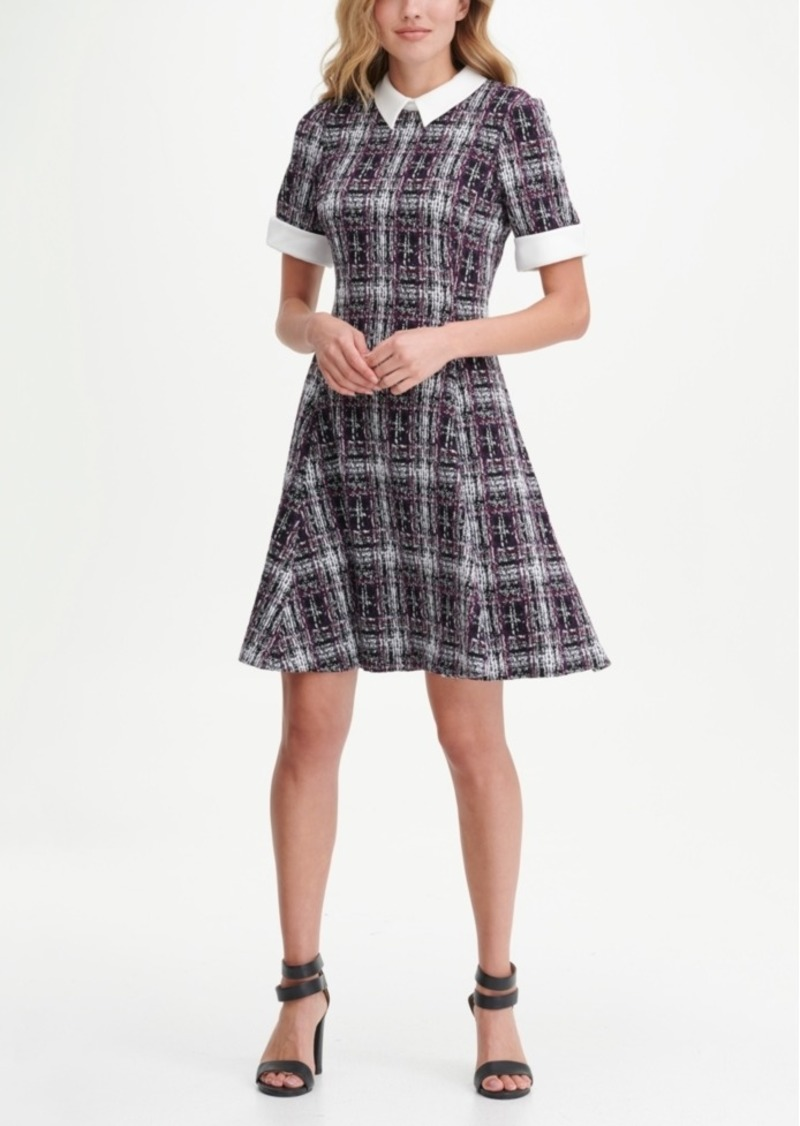 Dkny Contrast Collar Tweed Fit Flare Dress
