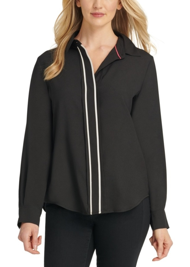 Dkny Contrast-Placket Blouse