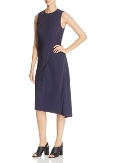 DKNY Contrast-Stitching Asymmetric Dress