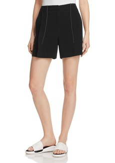 DKNY Contrast Stitching Pleat-Front Shorts