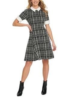 Dkny Contrast-Trim Textured Dress