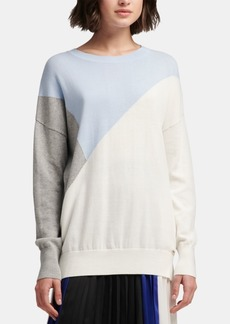 Dkny Cotton Colorblock Sweater, Created for Macy's