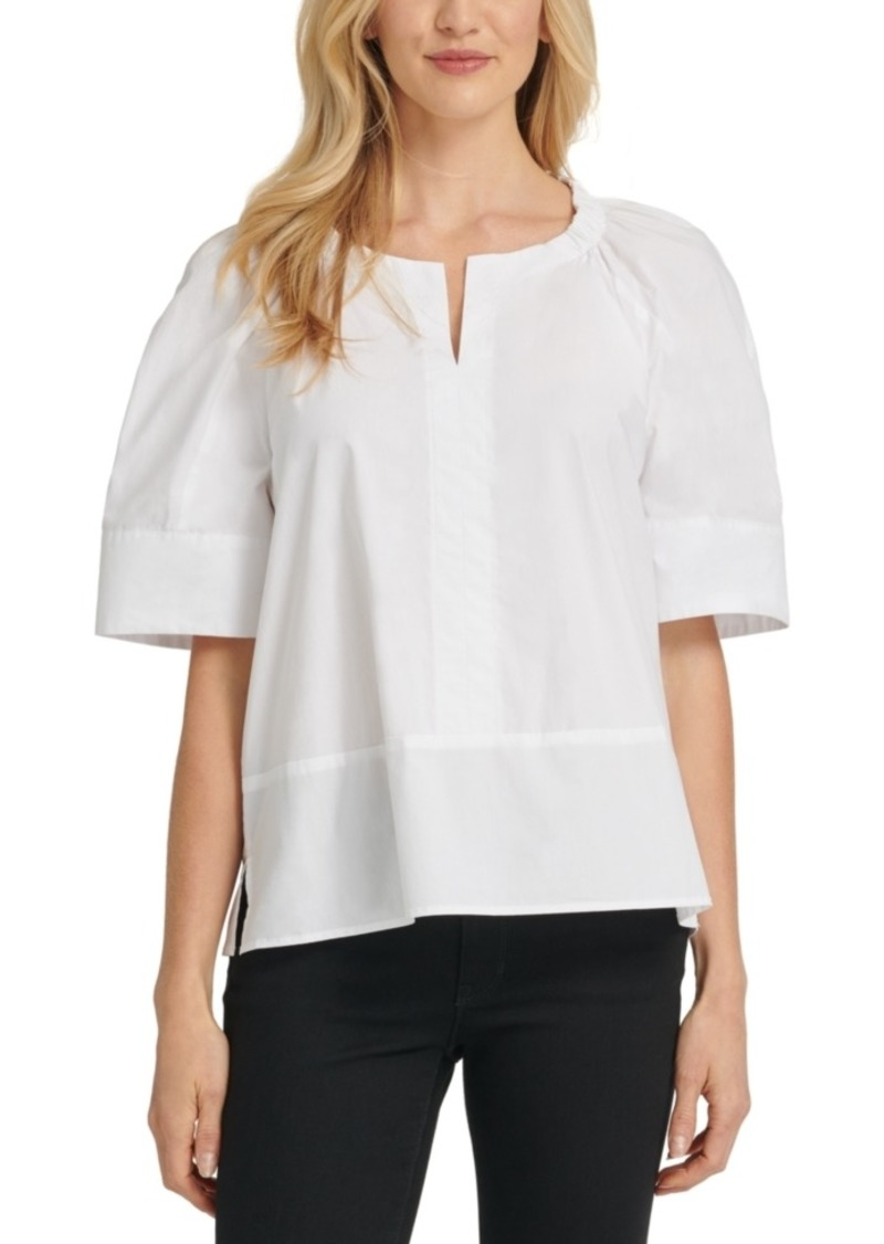 Dkny Cotton Elbow-Sleeve Top