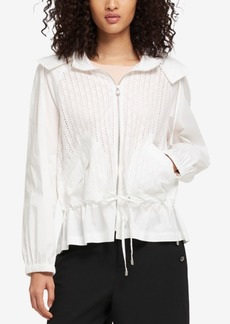 Dkny Cotton Eyelet Drawstring-Waist Jacket