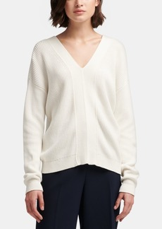 Dkny Cotton Lace-Up Sweater