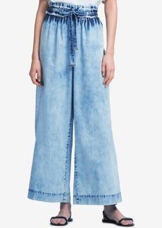Dkny Cotton Wide-Leg Acid-Wash Jeans