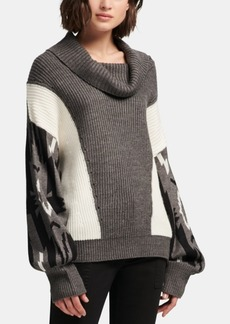 Dkny Cowlneck Colorblocked Sweater, Created for Macy's