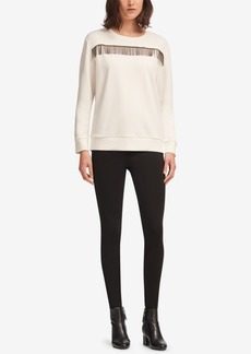 Dkny Crew-Neck Fringe-Trim Sweatshirt, Created for Macy's