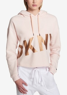 Dkny Cropped Fleece Graphic Hoodie