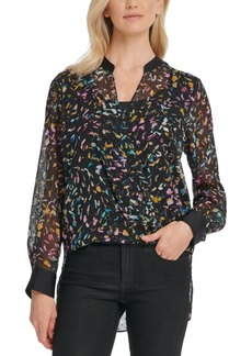 Dkny Crossover Printed Mesh Blouse
