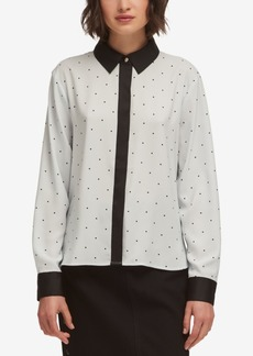 Dkny Dot-Print Hidden-Placket Blouse, Created for Macy's