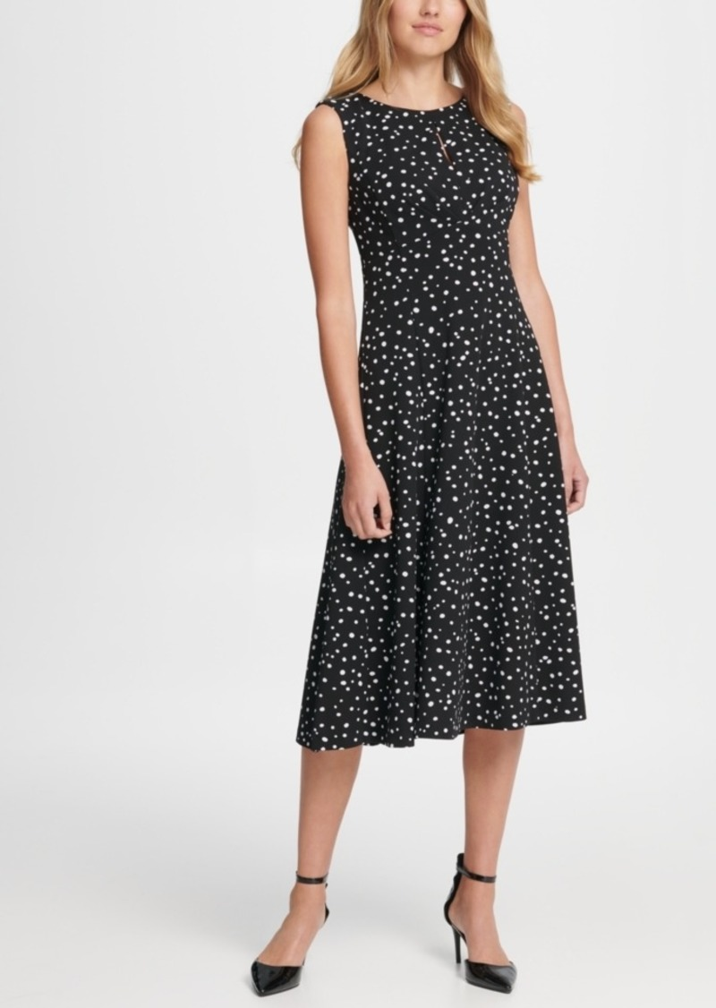 Dkny Dot Print Pleated Empire Waist Midi Fit & Flare Dress