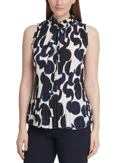 Dkny Dot-Print Pleated Tie-Neck Top