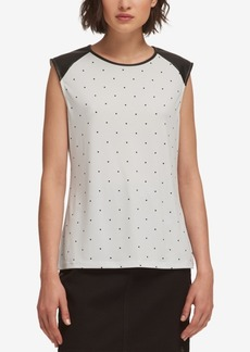 Dkny Dotted Faux-Leather-Trim Top