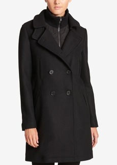 Dkny Double-Breasted Wool-Blend Walker Coat With Inner Vest