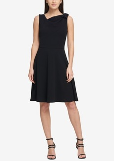 Dkny Draped Bow Fit & Flare Dress, Created for Macy's