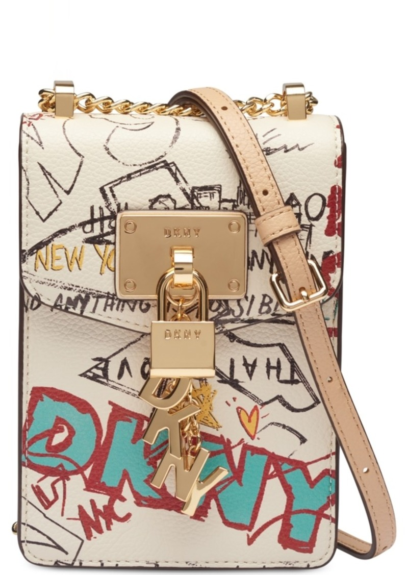 Dkny Elissa Graffiti Logo Pebble Leather Charm Crossbody, Created for Macy's