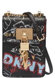 Dkny Elissa Graffiti Logo Pebble Leather Charm Crossbody, Created for Macy's