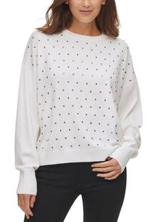 Dkny Embellished Dropped-Shoulder Sweater
