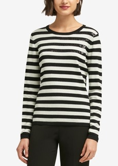 Dkny Embellished Striped Sweater, Created for Macy's