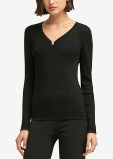 Dkny Embellished V-Neck Sweater, Created for Macy's