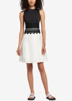 Dkny Embroidered Colorblocked Dress, Created for Macy's