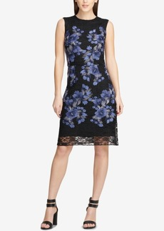 Dkny Embroidered Lace Floral Sheath Dress, Created for Macy's