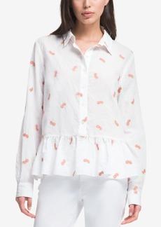 Dkny Embroidered Peplum Shirt