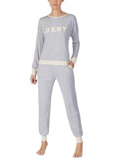 Dkny Embroidered Top & Jogger Pants Pajamas Set