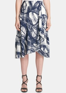Dkny Etched-Print Ruffled Midi Skirt