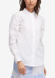Dkny Eyelet-Trim Button-Down Shirt