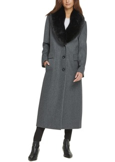Dkny Faux-Fur-Collar Maxi Coat