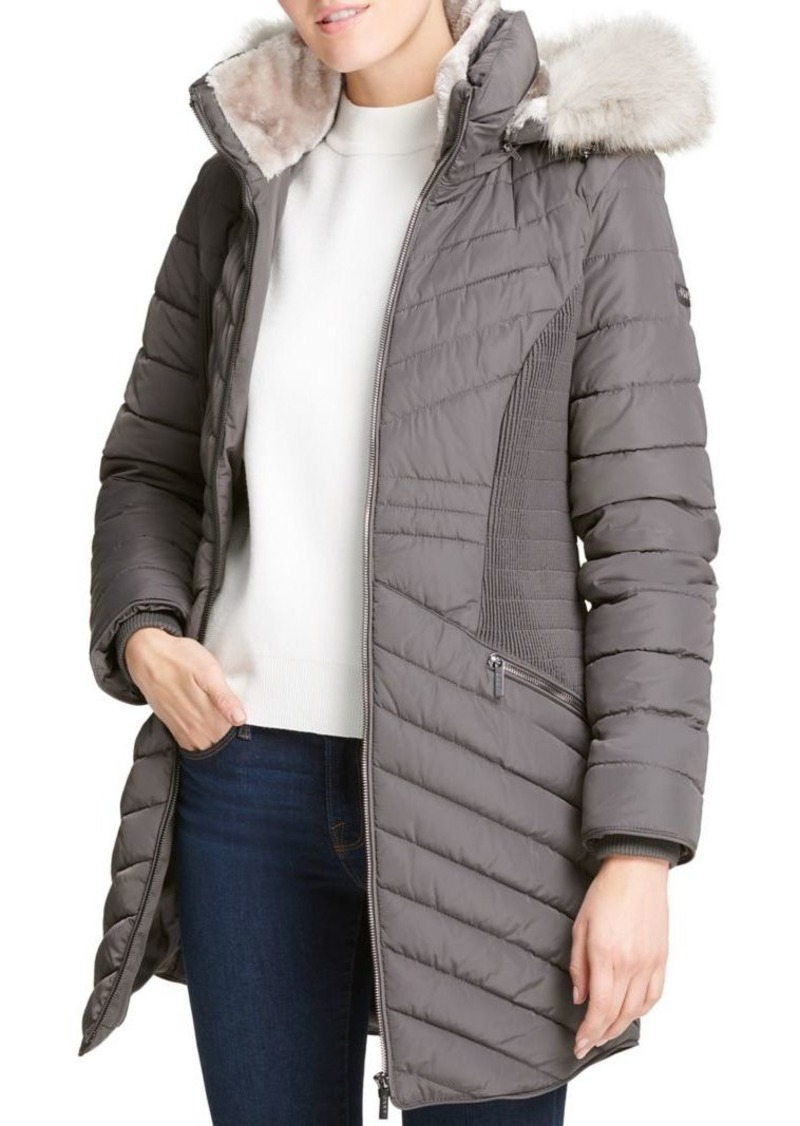 DKNY Faux-Fur Hooded Puffer Coat
