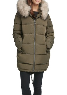 DKNY Faux-Fur Hooded Puffer Jacket