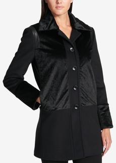 Dkny Faux-Fur-Panel Wool-Blend Walker Coat