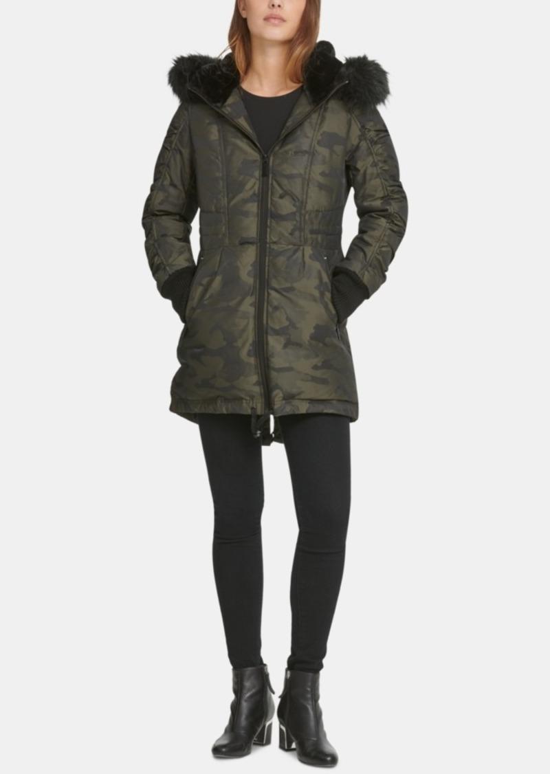 Dkny Faux-Fur-Trim Camo-Print Puffer Coat