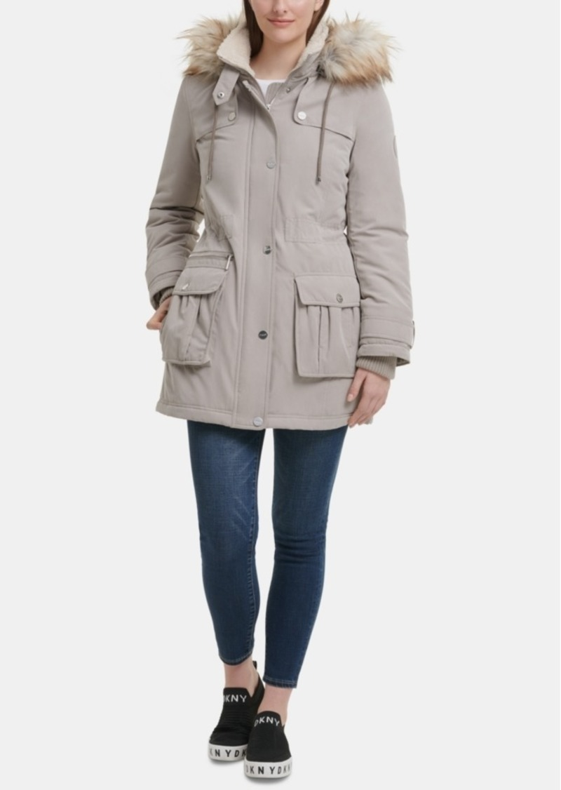 Dkny Faux-Fur-Trim Hooded Anorak, Created for Macy's