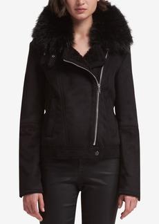 Dkny Faux-Fur-Trim Moto Jacket, Created for Macy's