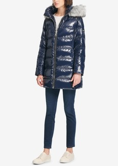 Dkny Faux-Fur-Trim Puffer Coat