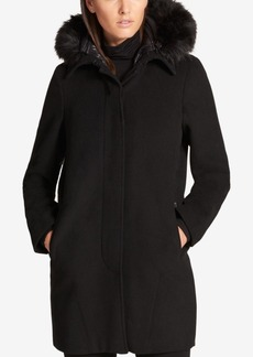 Dkny Faux-Fur-Trim Walker Coat with Vest